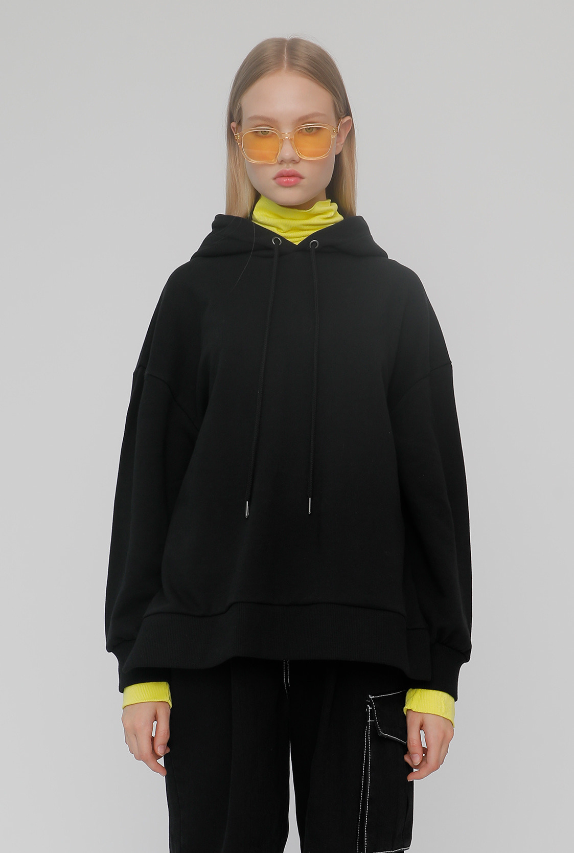 R TURTLENECK LAYERED HOODIE