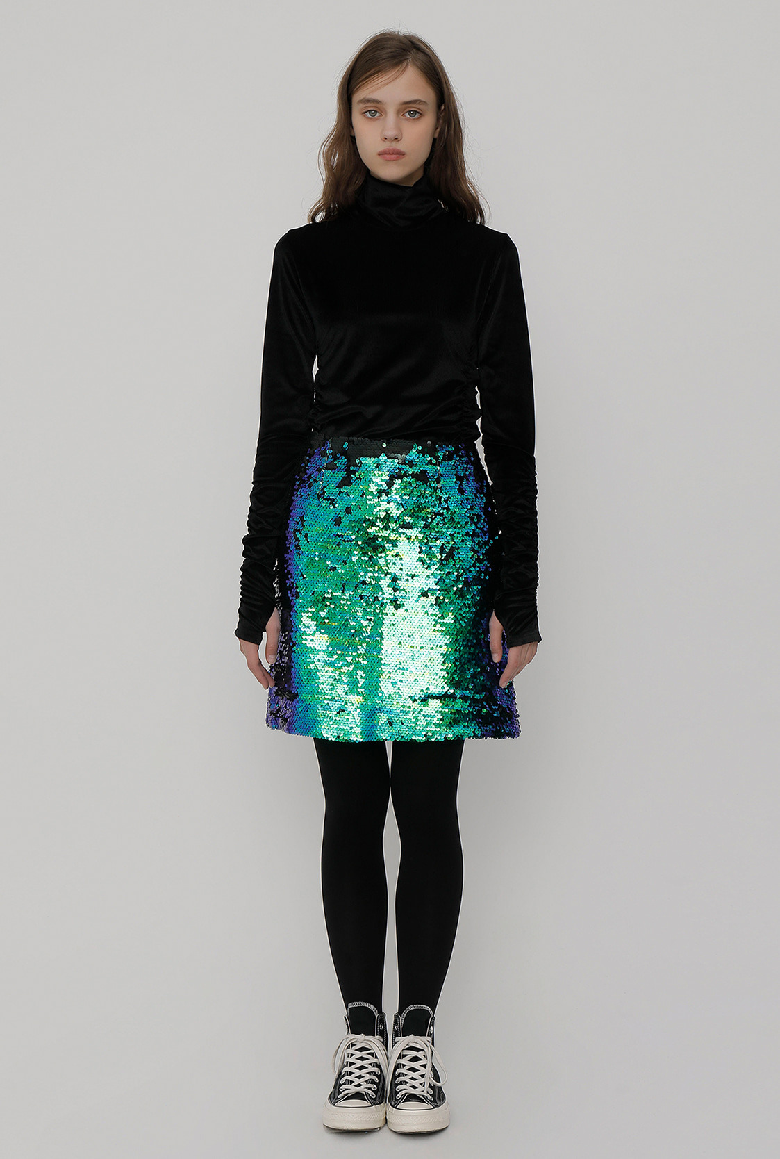 R SPANGLE MINI SKIRT