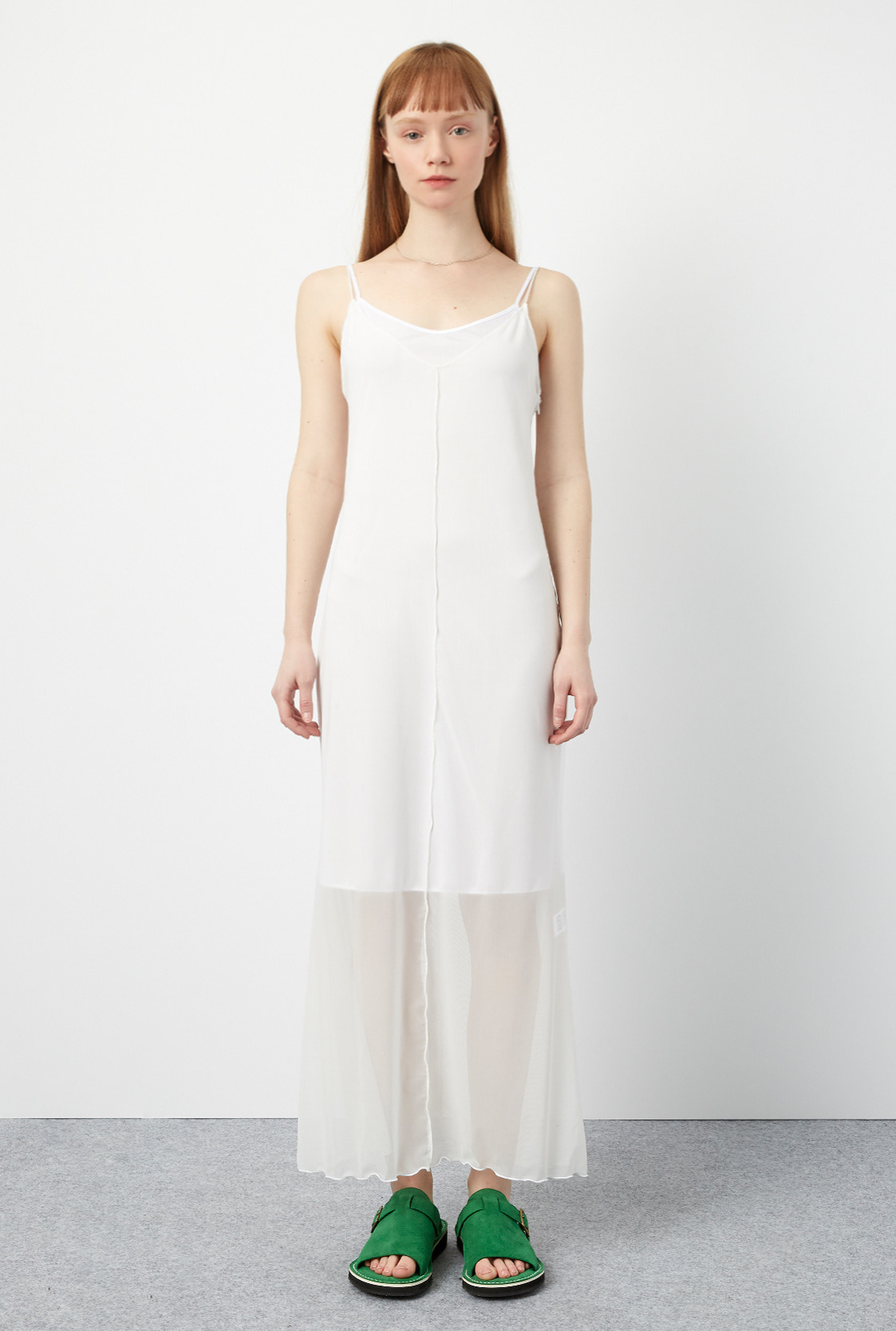 R MESH LONG DRESS_WHITE