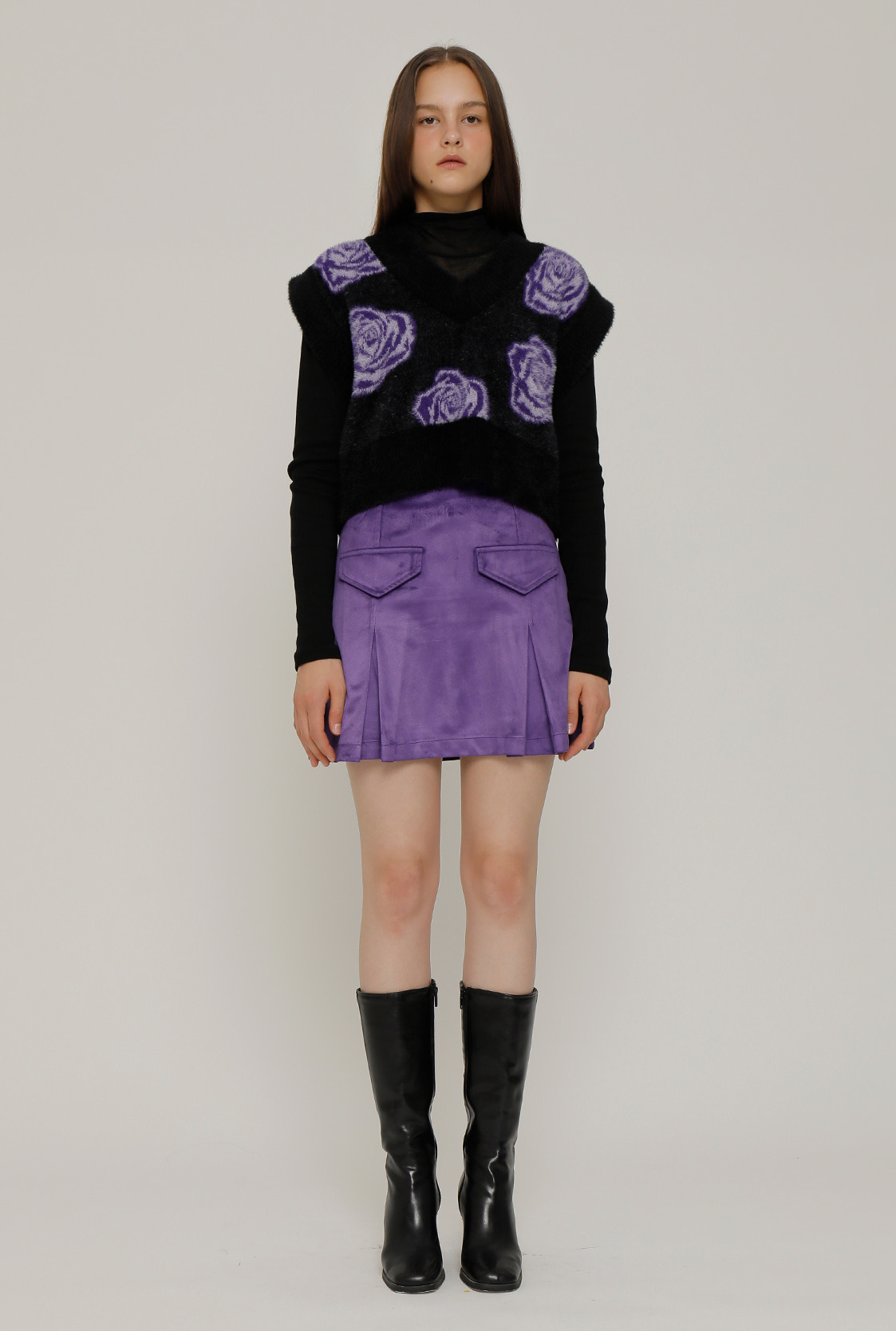 R DIVIDED SUEDE SKIRT_PURPLE