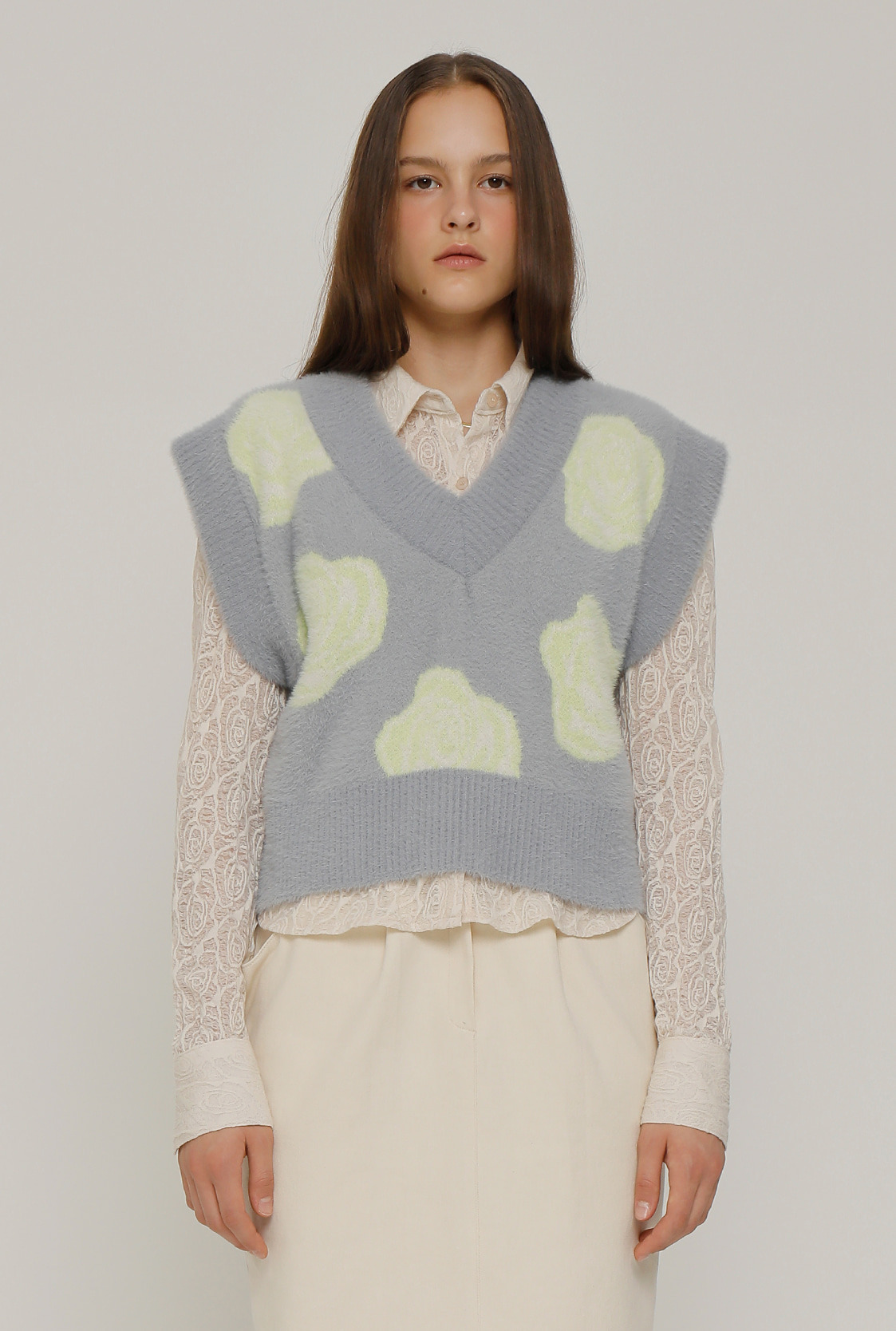 [10/30순차배송]R FLOWER JACQUARD KNIT VEST_GREY