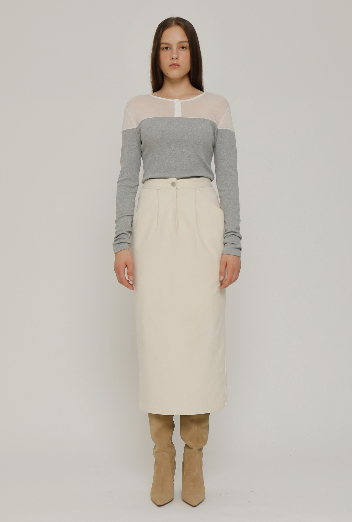 R POCKET POINT SKIRT_IVORY