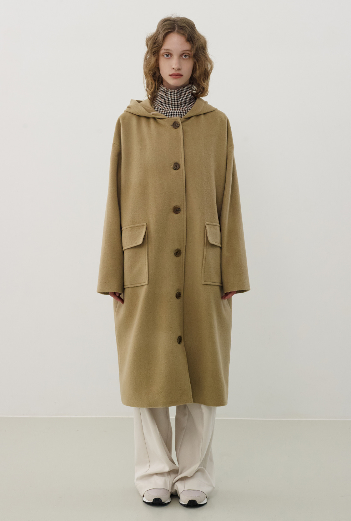 R WOOL HOOD LONG COAT