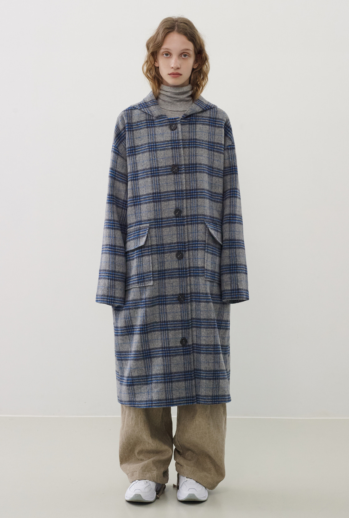 R WOOL HOOD LONG CHECK COAT