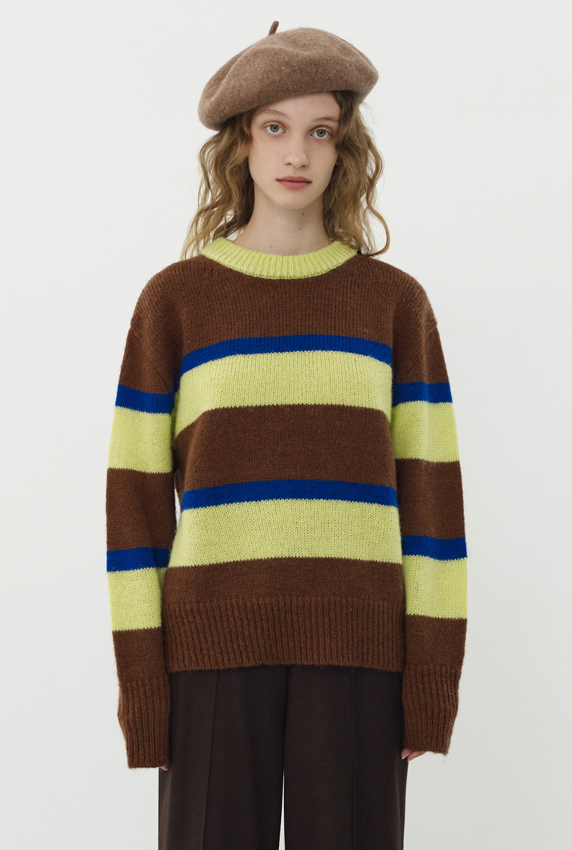 R STRIPE CONTRAST KNIT TOP_BROWN