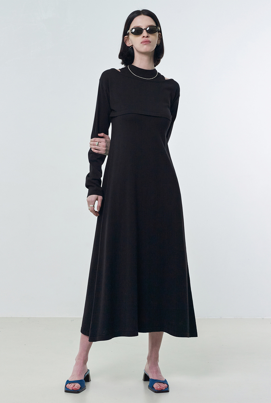 R BOLERO LAYERED KNIT DRESS_BLACK