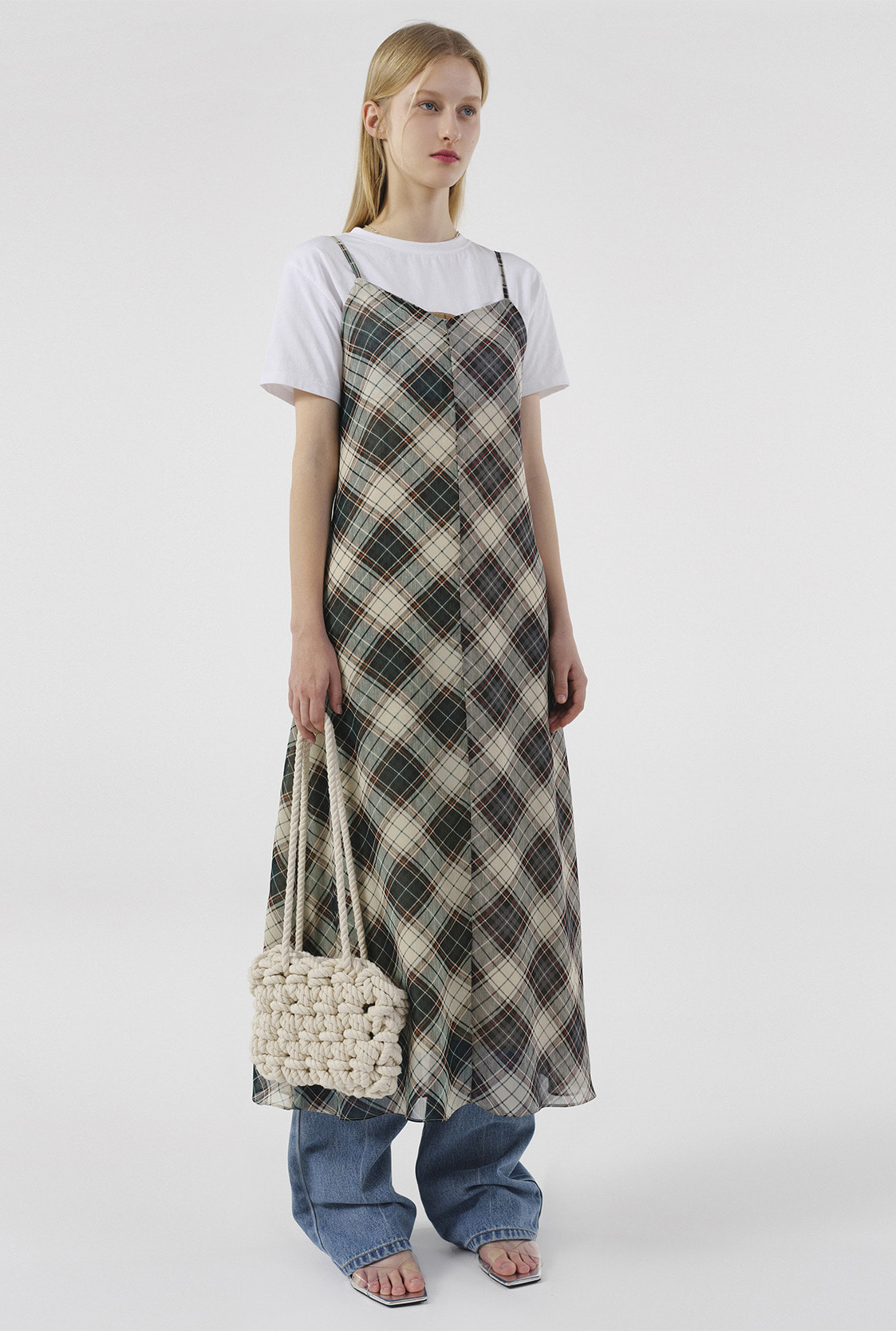 R CONTRAST CHECK DRESS