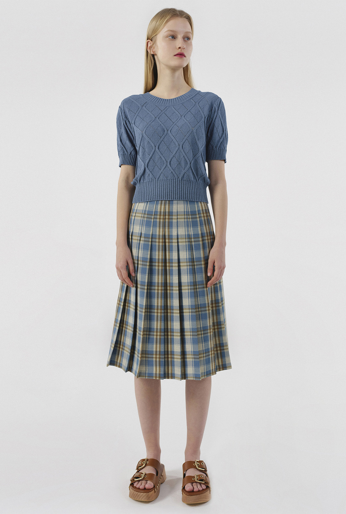 R CHECK PLEATS MIDI SKIRT_BLUE