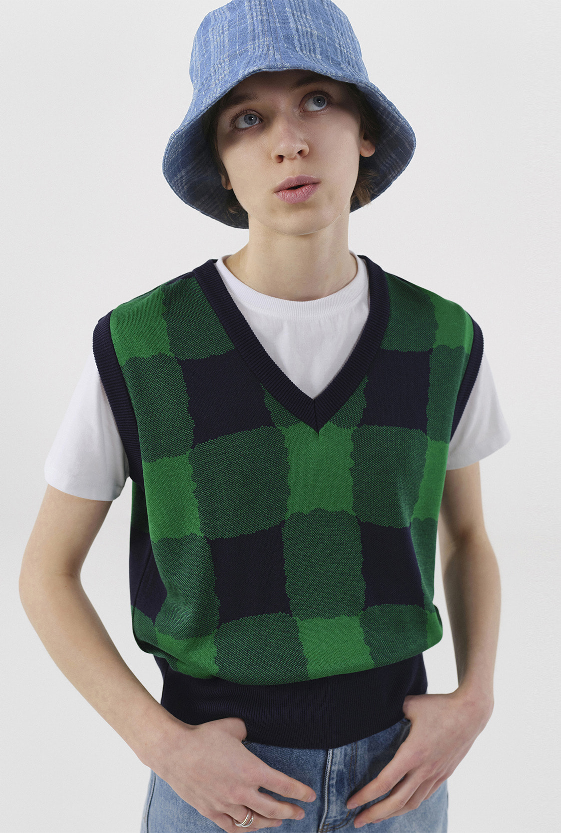 R GINGHAM CHECK KNIT VEST_NAVY