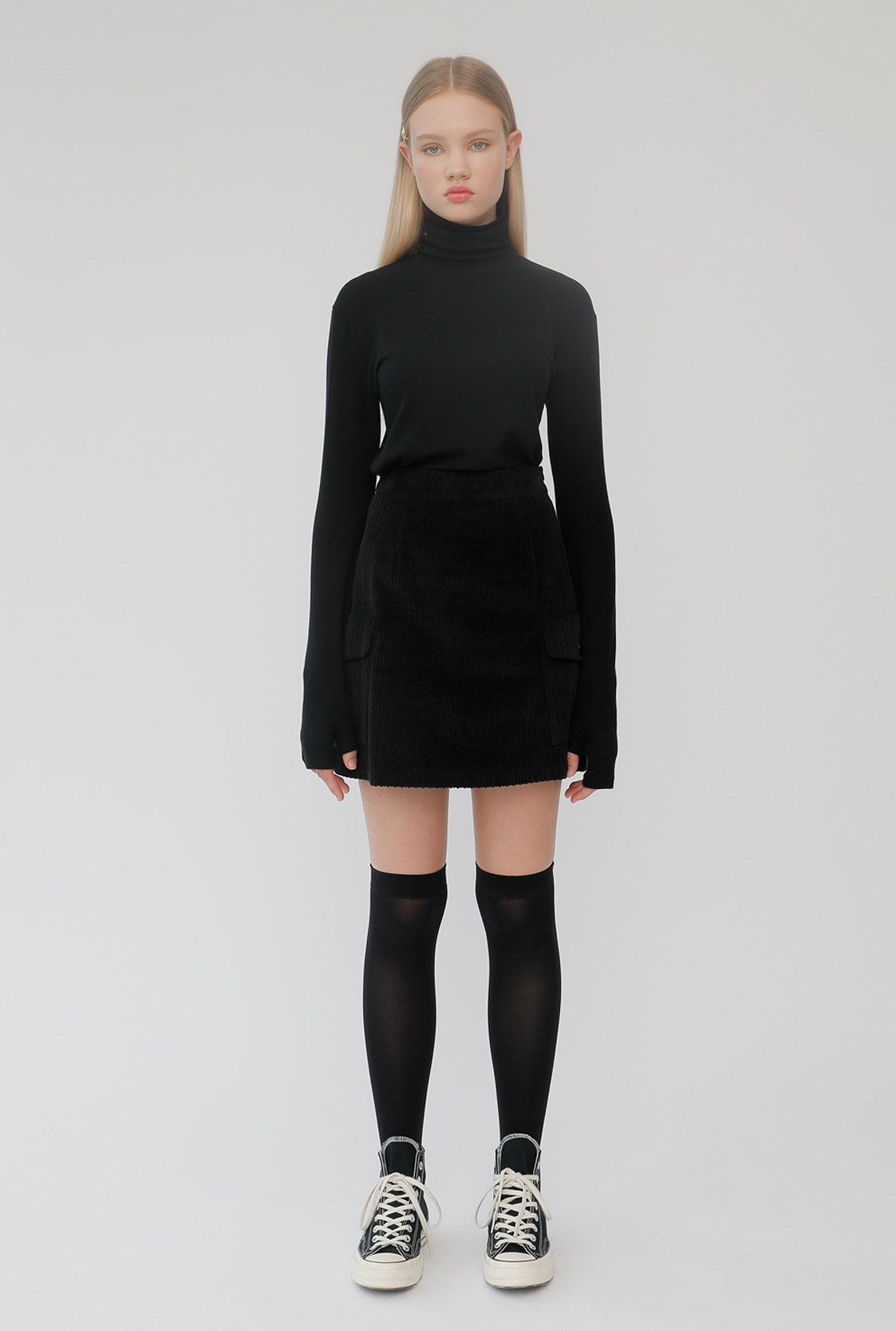 R POCKET CORDUROY SKIRT_BLACK