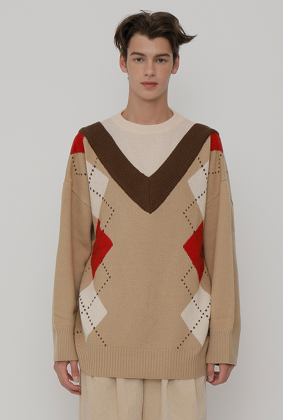 M)R V BIG ARGYLE KNIT_BEIGE