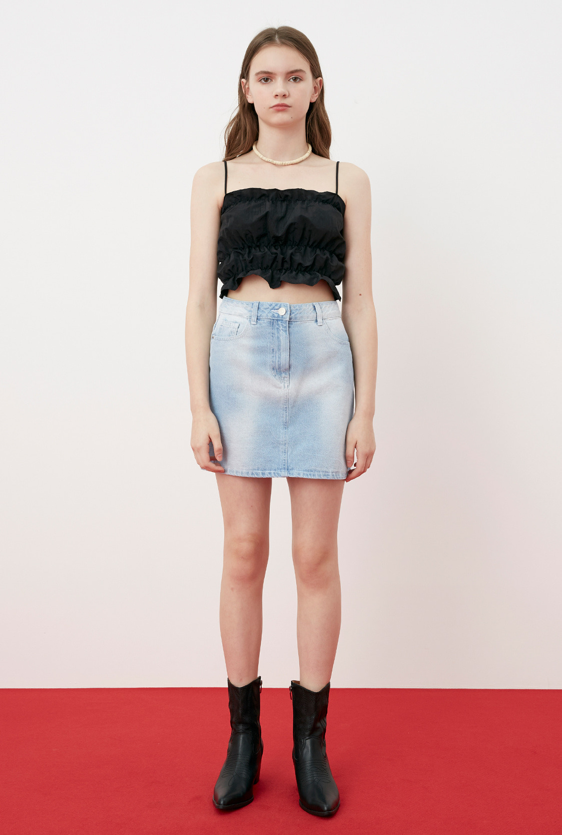 R TIE-DYE DENIM SKIRT