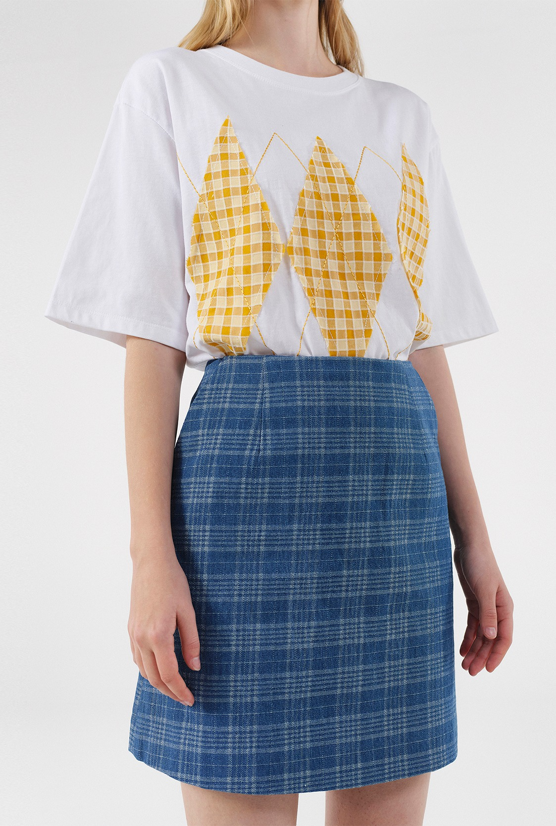 R CHECK DENIM MINI SKIRT