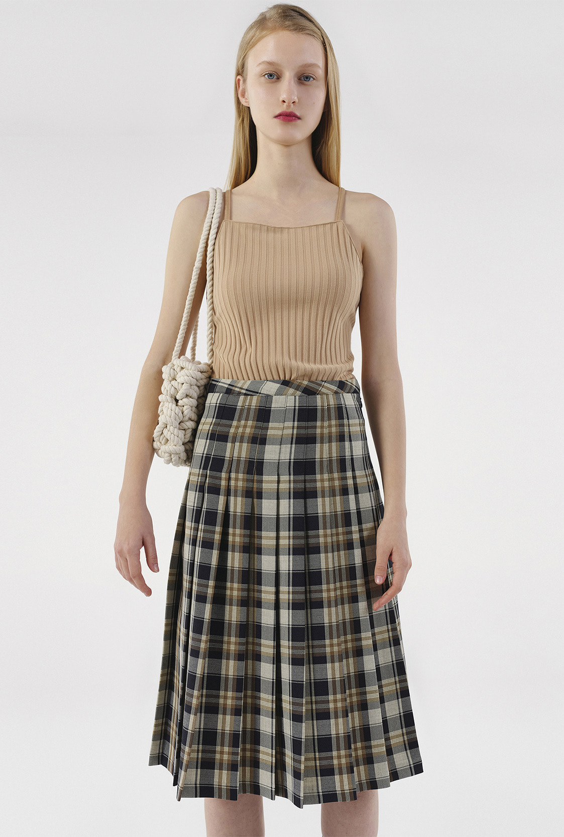 R CHECK PLEATS MIDI SKIRT_BLACK